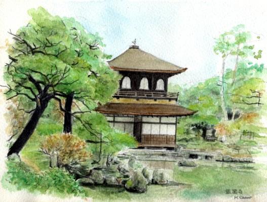 水彩「銀閣寺」