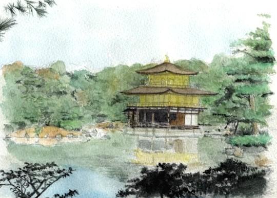 水彩「金閣寺」