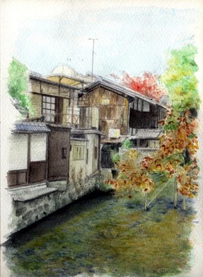 水彩画小川
