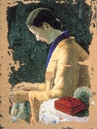 編み物する婦人