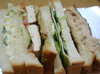 三種類のサンドイッチ