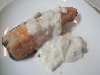 鮭のクリームソース掛け