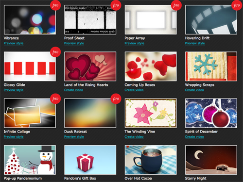 Animoto - Create Video Slideshows - Style Selector