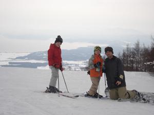 スキー場で