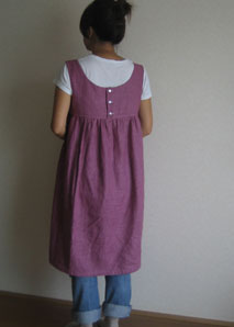紫リネンワンピ