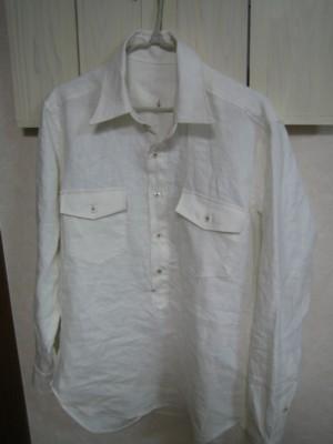 ホワイトリネンメンズシャツ1