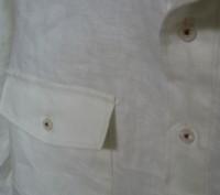 ホワイトリネンメンズシャツ3