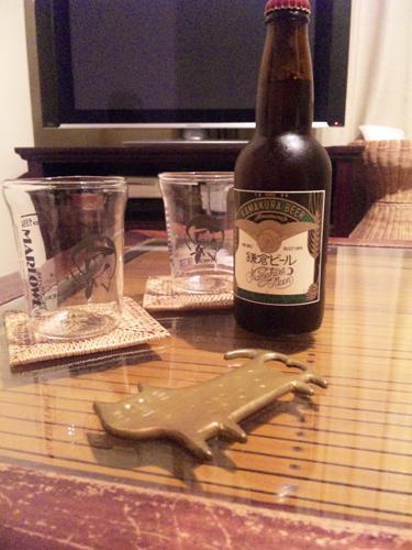 鎌倉ビールとマーロウのビーカー