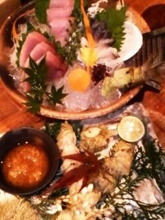お刺身3点盛りと秋刀魚と栗の天ぷら