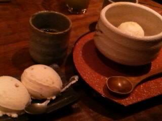 栗のアイスとクリームあんみつ