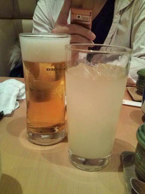 生ビールと柚子酒サワー