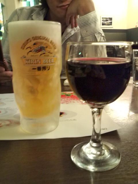 生麦酒と赤ワイン