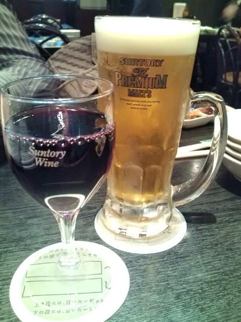 赤グラスと生ビール・喜楽喰