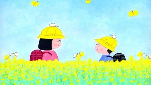 童画作家 秋野あかねの センチメンタルロマン 帽子にも止まったよ