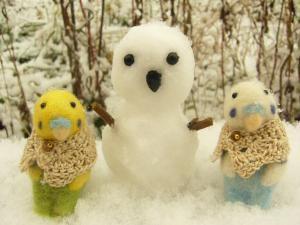 雪だるまとインコちゃん