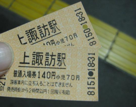 上諏訪駅入場券