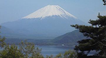本栖湖から見える富士山