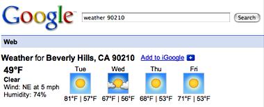Googleで天気予報検索(ビバリーヒルズ)