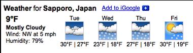 Googleで天気予報検索(札幌)