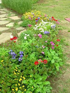 風車前の花壇