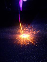 線香花火 写真で撮ったらこんな。。。