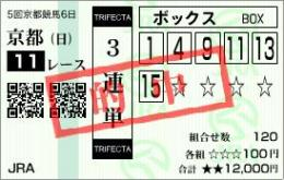 マイルCS馬券 3連単BOX