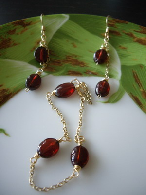 garnet earrings and bracelet