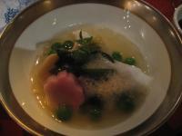煮物:吉次若竹蒸し銀あんかけサクラ麩うすい豆