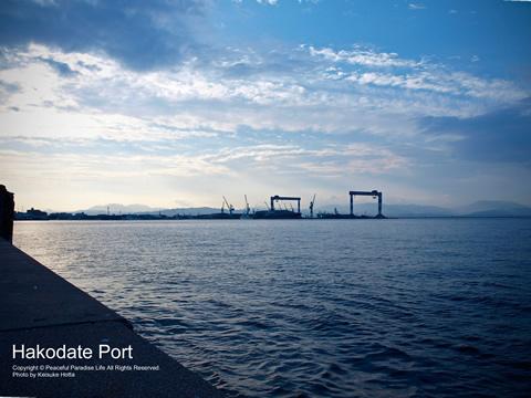 函館港の海と空