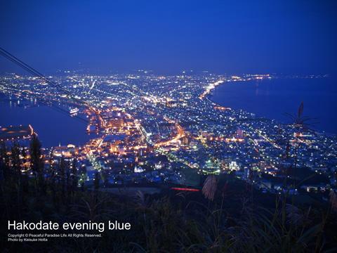 函館山から写した夕暮れ時の青い空の函館市街の夜景